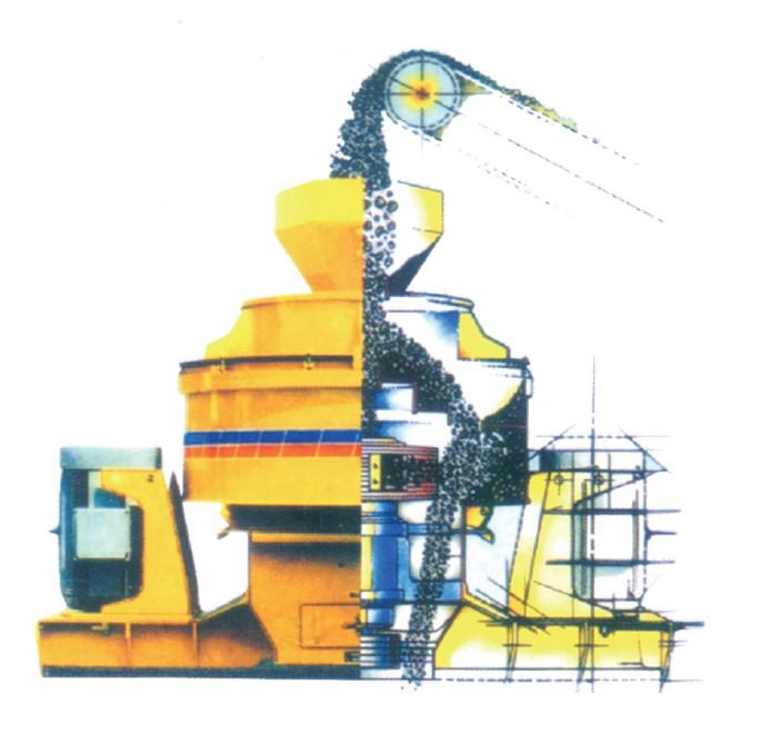 一、产品简介: 立式冲击破碎机(通常称为制砂机)是我公司在多年研制矿山机械设备的基础上吸取国内外同类产品的先进技术,开发出的具有国际先进水平的高能低耗、环保型新设备,该设备主要用于破碎河卵石、山石(石灰石、花岗岩、玄武岩、辉绿岩、安山岩等)、矿石尾矿、石屑的人工制砂,广泛应用于各种矿石、水泥、耐火材料、铝凡土熟料、金刚砂、玻璃原料、机制建筑砂、石料及各种冶金矿渣等多种行业。随着人工制砂的广泛利用,制砂机的使用可以说越来越广。 二、结构 立式冲击式破碎机主要由进料斗、分料器、涡动破碎腔、叶轮体、主轴总成、底